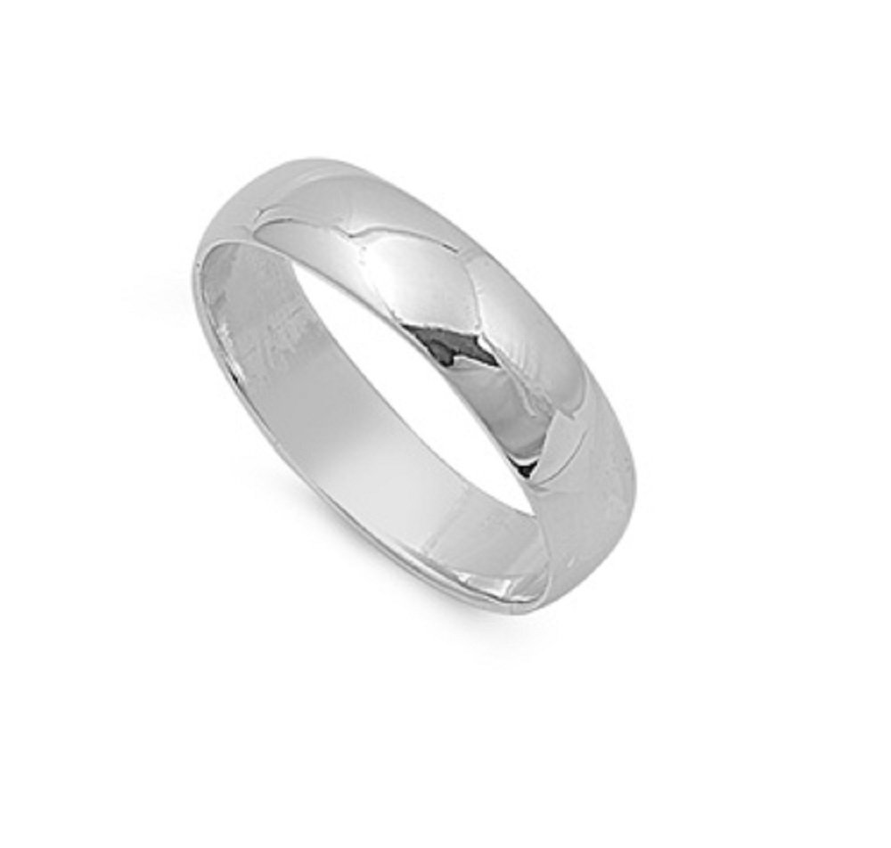 925 Sterling Silver 6MM Simple Wedding Band Ring Size 6