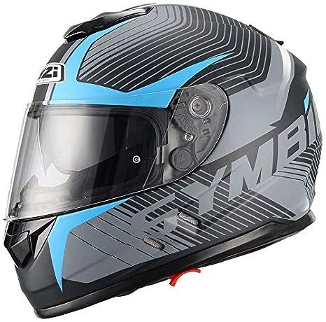 NZI Symbio Duo Graphics Casco De Moto(Tera Negro Azul,Grande)
