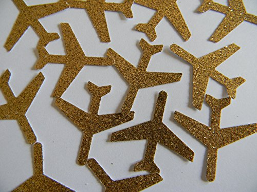 100 Gold glitter airplane airplanes die cuts party decor scrapbooking table confetti ()
