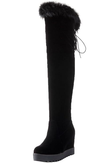 Mujer Botas altas de rodilla Invierno Caliente Piel sintética Aumento  Cordones Negro Cuña Plataforma Botas altas
