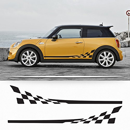 (Mini Cooper F56 2014-2015 checkered flag side stripes graphics decals)