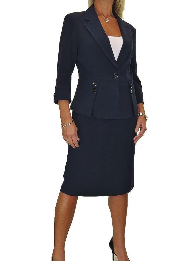 ICE Damen Anzug mit Rock - für Büro oder Geschäft - Designer-Look 34-48