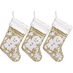 Red and White Reversible Sequins Christmas Stockings