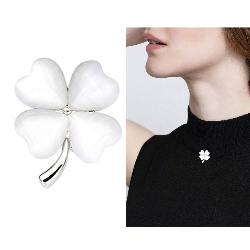 Joyci One Piece Elegant Women's Brooch Lucky Clover Pins Mini Opal Girl Fashion Brooch Cardigan Brooch Sweater and Shirt Brooch Pins (Silver)