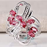 Women Fashion Jewelry 925 Silver Pink Sapphire Wedding Engagement Ring Size 6-13 (6)