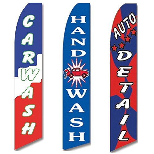 3 Swooper Flags Car Wash Service OPEN Auto Detail Shop Hand Wash