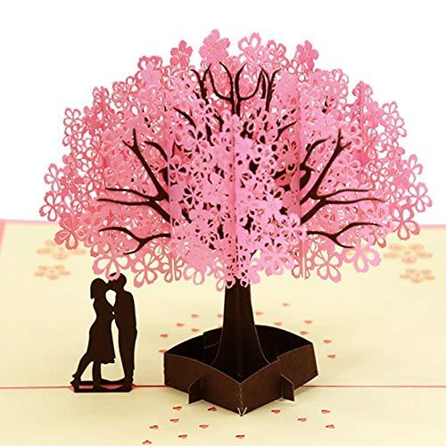 Dreamen mother's day Love Romantic sakura lover pop-up cards craft 3D Greeting Card, Wedding Invitation Card Lovers birthday Couple's Happy Anniversary (Romantic sakura)]()