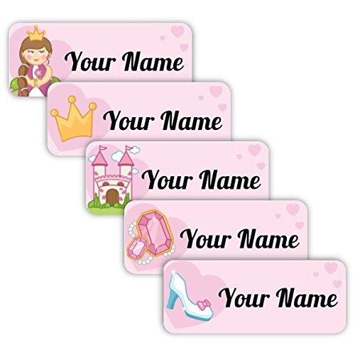 40 Original Personalized Waterproof Custom Name Tag Labels (Princess Theme) - Multipurpose Marking for All Ages - Camping Gear, Luggage, Kindergarten
