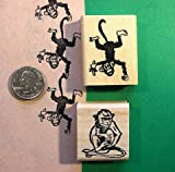 Quality Custom Rubber Stamps Mischievous Monkeys, Two Rubber Stamps, Wood Mounted Carved Wooden Stamps
