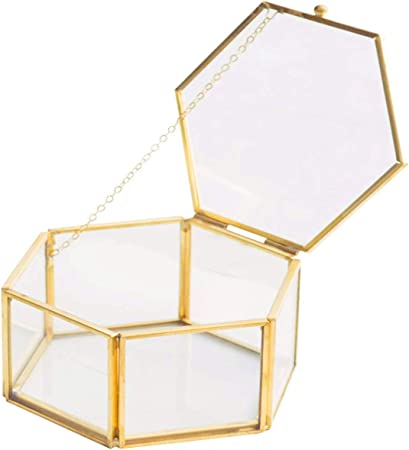 Caja de Cristal con bisagras de Metal y Cristal Transparente Hexagonal facetado de Color Dorado Vintage para exhibir terrarios o mesas.: Amazon.es: Hogar