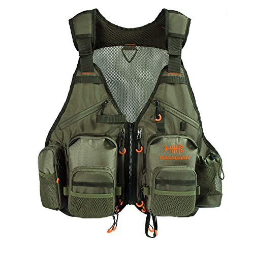 (Bassdash Fly Fishing Vest Multi Pocket Waistcoat Adjustable Size for Men Women)