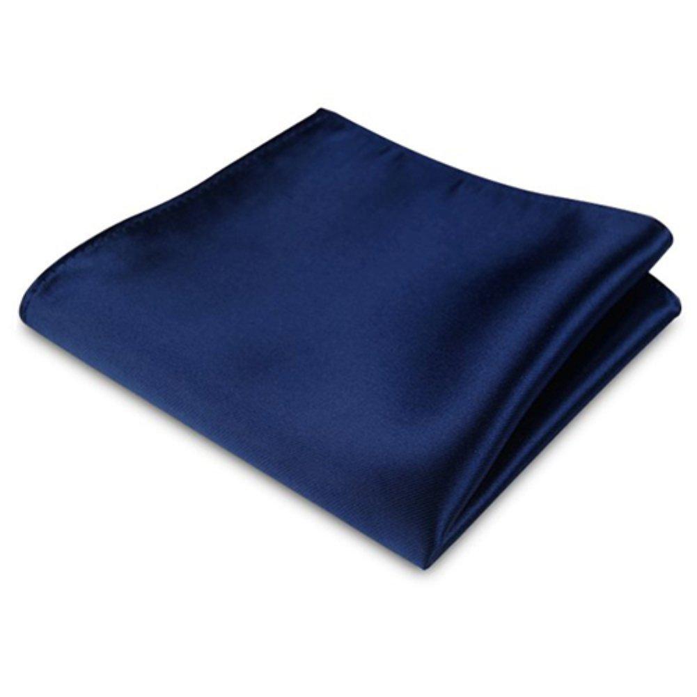 Powerfulline Men's Satin Solid Plain Color Handkerchief Hanky Pocket Square for Wedding Party (Dark Blue)