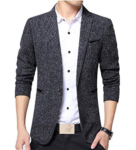 Jackets Suit Long 1 Fashion Basic Leisure Button Fit Slim Autumn Blazer Men Lapel Casual Essential Men's Schwarz Sleeve Business Emmay S8PAzYwfqA