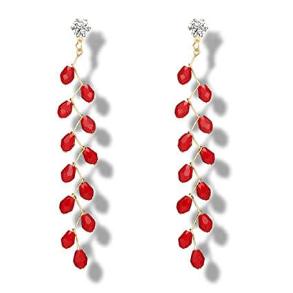 Joyería de Plata Mujer, 💖 Zolimx Nueva Moda Hermosa Larga Granada Cristales Araña Pendiente (