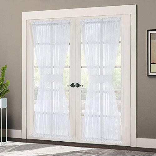 Sheer for Kitchen - Voile Glass Door Curtain Panel, Long Door Window Drape with Bonus Tieback, 60