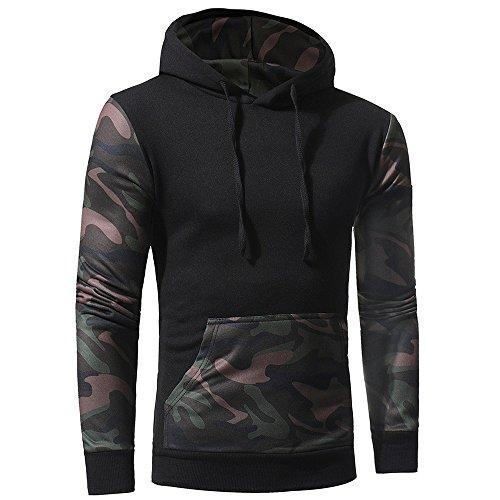 Hoodie Sweatshirt For Men,Clearance Sale-Farjing Mens' Camouflage Long SleevePrint Hooded Sweatshirt Tops Jacket Coat Outwear(XL,Black) by Farjing