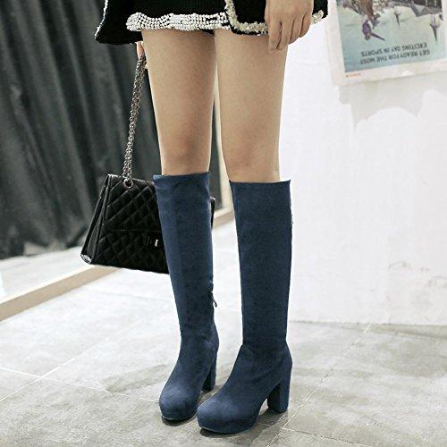 Carolbar Womens Zipper Rhinestone Fashion Charm Party High Chunky Heel Tall Dress Boots Blue O10VuL