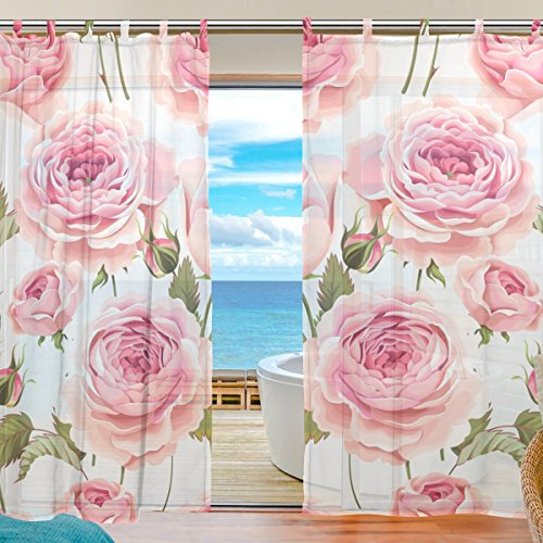 Palm Tree Bamboo Door Curtain (MRMIAN Decor Voile Tulle Door Window Curtain Drapes Beautiful Pink White Floral Rose Romantic Love Sheer Curtain Panels Pair for Bedroom Living Room 55x78 Inch)