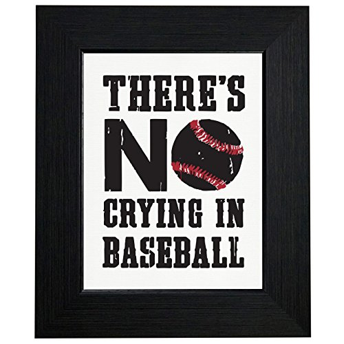 Baseball Large Framed Print (There's No Crying In Baseball Large Graphic Framed Print Poster Wall or Desk Mount Options)