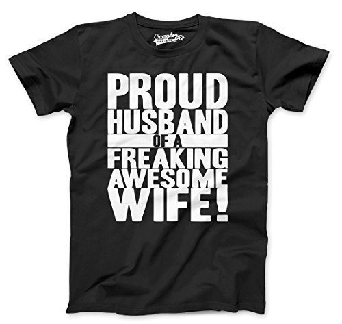 Mens Proud Husband of a Freaking Awesome Wife Funny Marriage T Shirt (Black) L