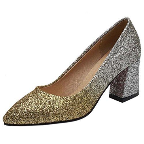 TAOFFEN Gold Court Block Heel Schuhe Shiny Frauen qqCrf