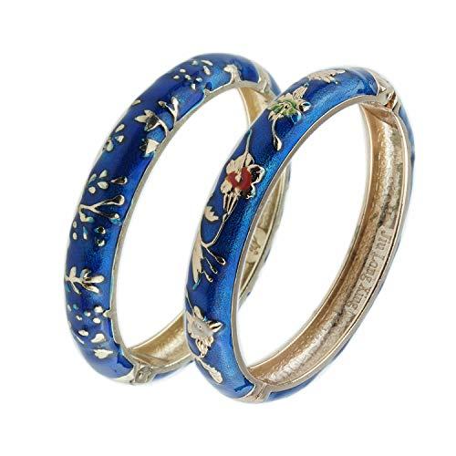 UJOY Vintage Bangles Bracelets Cloisonne Enameled Flower Spring Hinge Clasp Indian Style Jewelry Set for Women Girls 55A81 Blue