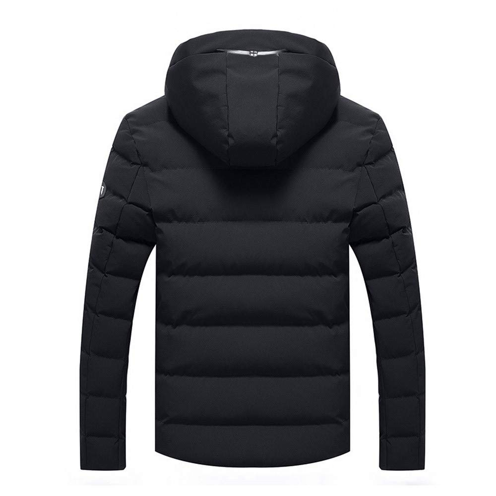 Mens Winter Warm Hooded Zipped Thick Solid Fleece Coat Cotton-Padded Jacket Pandaie-Mens Product Trench Coat Men