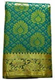 Ethnic Indian Women's Kanchipuram Pattu Silk Saree With Zari Border and Blouse (New collection, latest design) (Green)