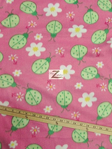 - PINK LADY BUG PRINT POLAR FLEECE FABRIC 60