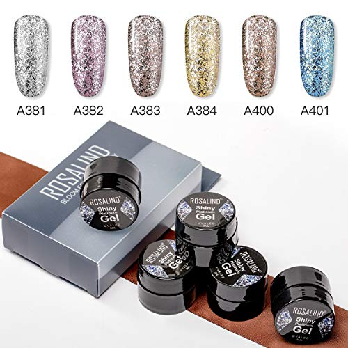 ROSALIND 5ML Sparkling Platinum Gel Nail Polish 6pcs Kit Long-Lasting Soak Off Nail Art Design Gifts For Nail Art(Glitter set)