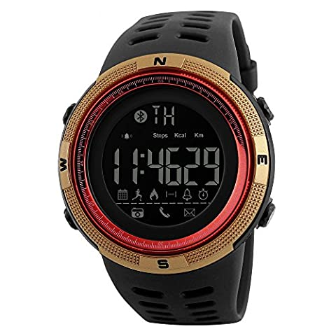 SKMEI 1250 Smart Watch Pedometer Calories Clocks Waterproof Digital Wristwatches Outdoor Sports Watches (Gold (Real Gold G Shock Watches For Men)