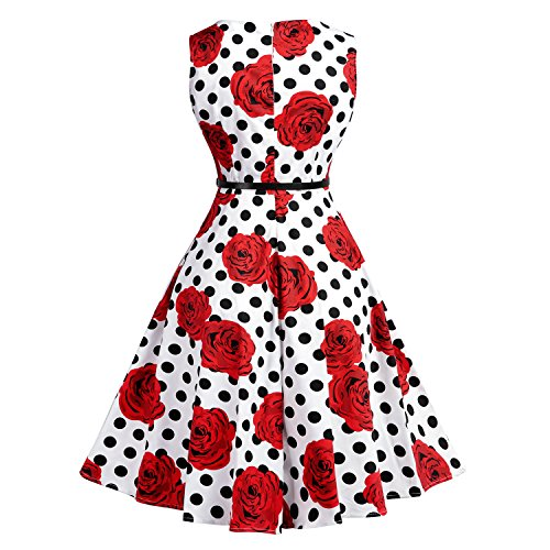50 Robe KUONUO pin Hepburn 1950's anne soire Cocktail up Chic de rtro Vintage Audrey Rockabilly Rouge HUqHFa