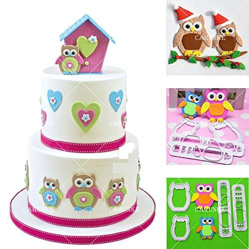 Owl Plastic Fondant Cutter Hawk Flower Molds Cake Decorating Birthday Moulds Chocolate