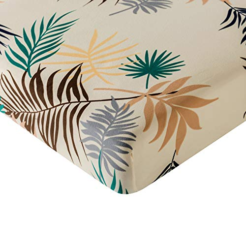 subrtex Spandex Elastic Couch Cushion Covers Stretch Leaves Printed Chair Slipcover Furniture Protector for Sofa Seat Cushion (Yellow) (Individual Covers Cushion Couch)