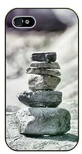 iPhone 4 / 4s Zen rocks equilibrium - black plastic case / Nature, Animals, Places Series by icecream design