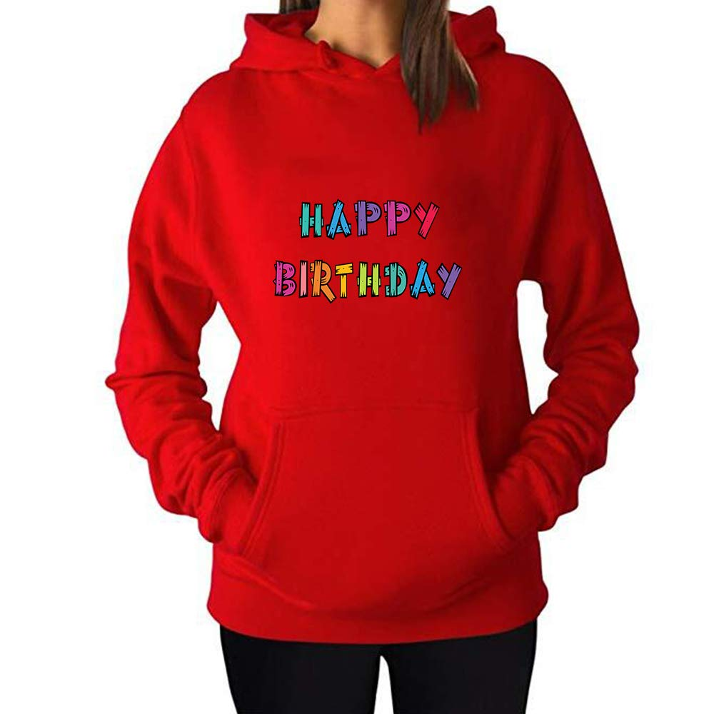 d838a458e54 Amazon.com  Hoodies for Women Happy Birthday Custom Personalized Autumn  Winter Long Sleeve Hoodies Pockets Sweatshirt  Clothing