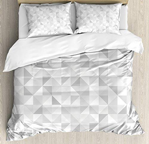 Comforter Set Cube (Grey Queen Size Duvet Cover Set by Ambesonne, Faded Cubes Geometric Mosaic Squares and Triangles Color Movement Gradient Print Urban Art, Decorative 3 Piece Bedding Set with 2 Pillow Shams, Gray White)