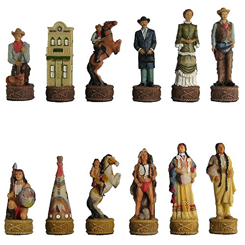 Cowboys vs. Indians Hand Painted Polystone Chess Pieces