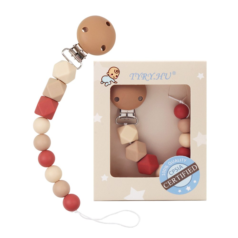 TYRY.HU Baby Pacifier Clips BPA Free Teether Soother Pacifier Chain Holders Silicone Dummy Clip Chewable Beads Teething Toy Shower Gift (Pink)