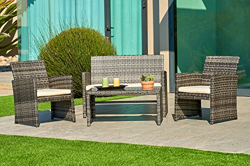 - Suncrown Outdoor Furniture Grey Wicker Conversation Set with Glass Top Table (4-Piece Set) All-Weather | Thick, Durable Cushions with Washable Covers | Porch, Backyard, Pool or Garden