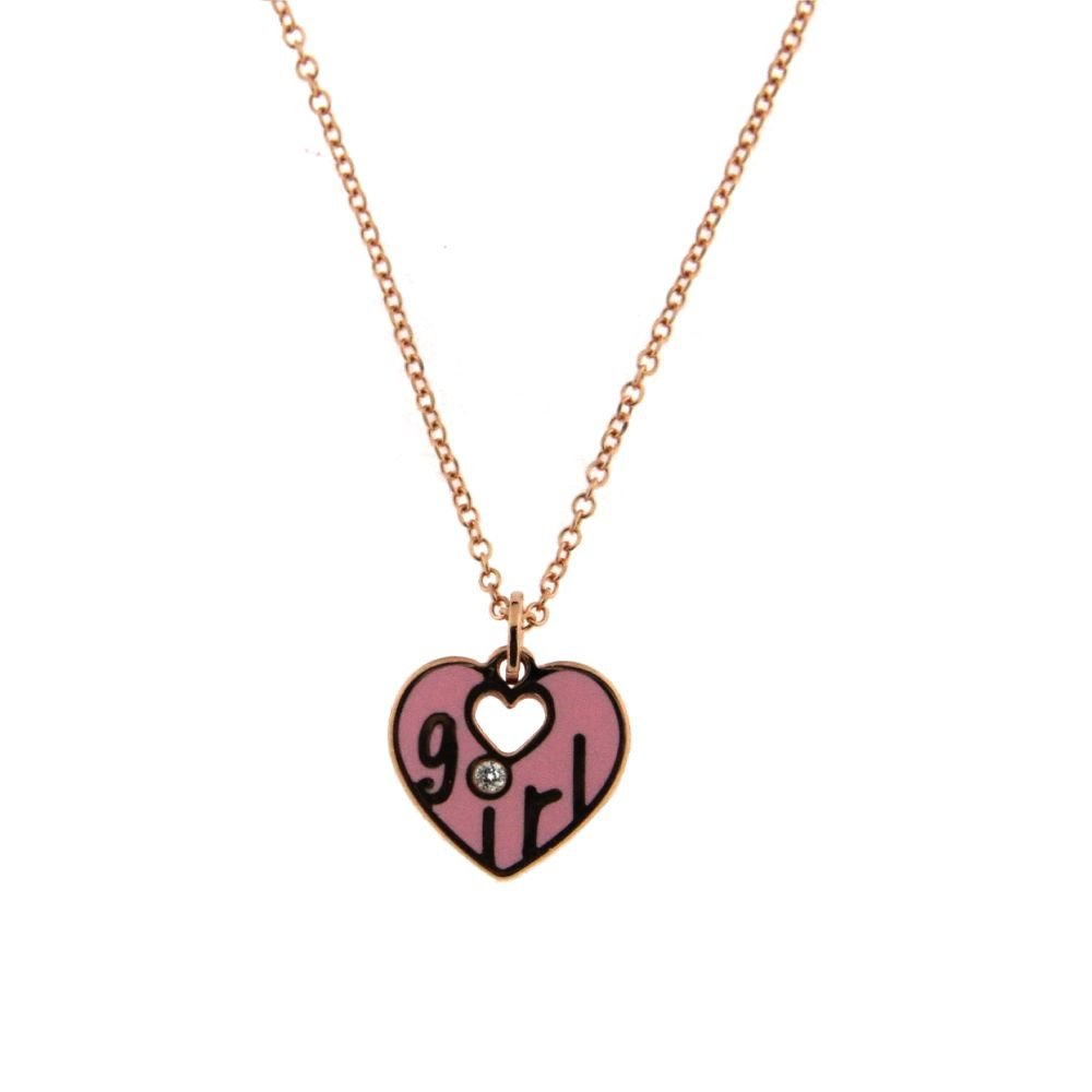 18K Pink Gold Diamond Pink Ceramic Heart Necklace with the word GIRL in Gold and the Diamond on top of the i. 16.50 inches with extra ring at 15 inch