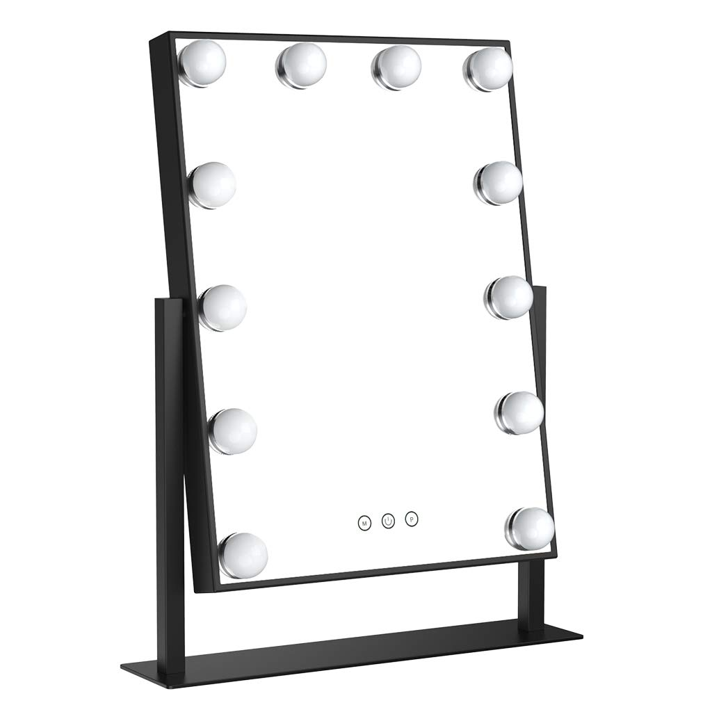 Ovonni Lighted Vanity Makeup Hollywood Mirror, Dimmable Tabletop 3 Colors lighting Cosmetic Mirror with LED Bulbs, Touch Control and Plug Powered (12 Blubs, Black)