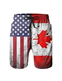 HF8MX Canadian American Flag Custom Men's Summer Casual Shorts Home Shorts with Pockets Quick Dry Beach Shorts
