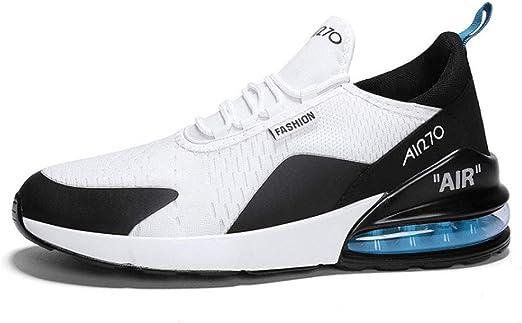 Zapatos de Running de los hombres, volando zapatos de deportes tejidos antideslizante resistente al desgaste transpirable desodorante plantillas al aire libre zapatillas de Running,BlackandWhite,39: Amazon.es: Hogar