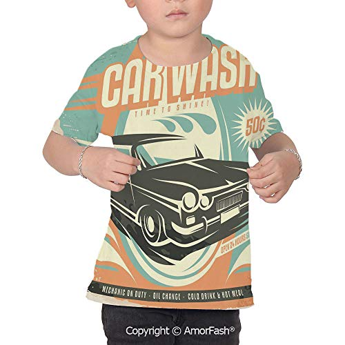 Cars Colorful Boys and Girls Soft Short Sleeve T-Shirt,Retro Car Wash Poster MEC