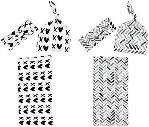 MarJunSep 新生児 男の子 赤ちゃん おくるみ ブランケット ビーニー ハット ヘッドバンドセット 受け取り毛布 幼児 男の子 赤ちゃん ギフト おくるみ 毛布 ヘッドバンド&ビーニー帽セット (グレー&ブラック) 0~3ヶ月)