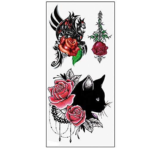 TAFLY Waterproof Temporary Tattoos Sticker Black Cat and Rose Tatto Water Transfer Fake Tatoo for Woman 5 Sheets