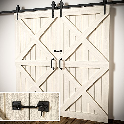 Tibres - Sliding Barn Door Latch Lock for Locking Barns, Sliding and Double  Doors, Gates, Garage and Shed Doors - Wrought Iron Heavy Duty Hook and Eye