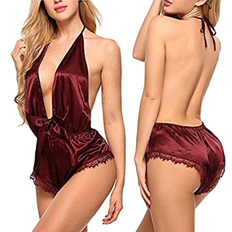 4e85df743dc Ladies Sexy Red Satin   Lace Teddy Babydoll Playsuit Romper Lingerie One  Size 8-14  Amazon.co.uk  Clothing