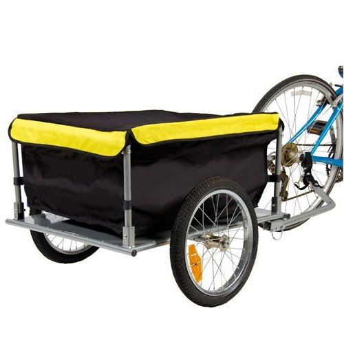 NEW Bike Cargo Trailer Bicycle With Cover Shopping Cart Carrier Tow Hauler Garden Black & - Hollywood Near Shopping
